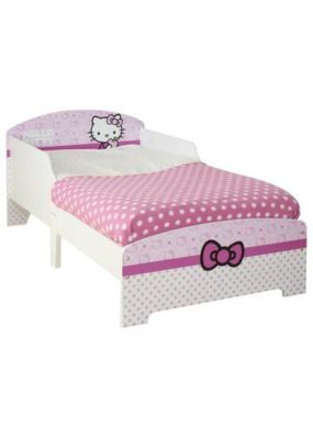 Mattress to fit Hello Kitty Toddler Bed (2012) mattress size is 140 x 70 cm.