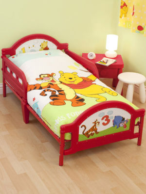 Mattress to fit Winnie the Pooh Toddler Bed (2012) mattress size is 140 x 70 cm.