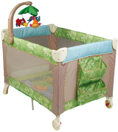 Fisher Price Rainforest Travel Cot - mattress size is 98 x 70 cm - external size L 105cm W 75cm