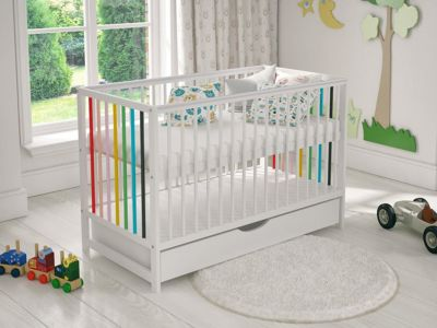Mattress to fit White Colourful Wooden Baby Cot Bed with Drawer 120x60cm