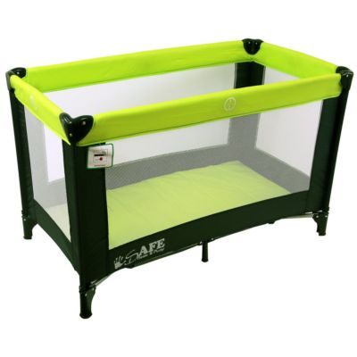 Travel Cot Mattress to fit iSafe Rest & Play Travel Cot (Black/Lime)