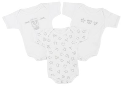 3 White Body suits - Newborn Gift Set