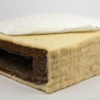 Organic cotton, coir & wool sprung mattress for cots & cot beds  - any size or shape available