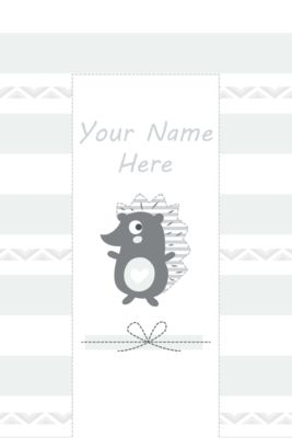 Changing Mat - Personalised - Hedgehog Grey