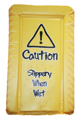 Changing mat - Caution - Slippery  Surface