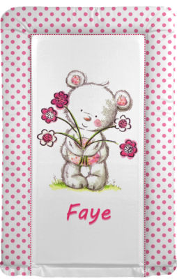 Changing Mat - Personalised - Flower Bear - Pink