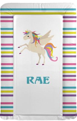Changing Mat - Personalised - Unicorn - Rainbow Border