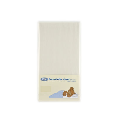 Flat Flannelette Cotton Sheet for Cots - White or Cream